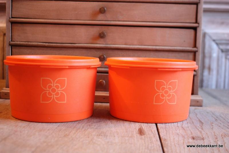 Vintage retro tupperware potten zonnedeksel oranje