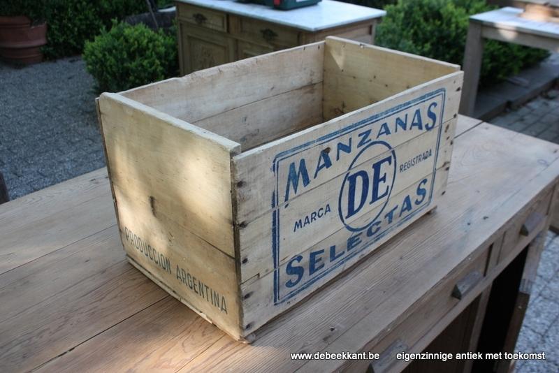 Antieke oude kist sinaasappels manzanas marca de selectas