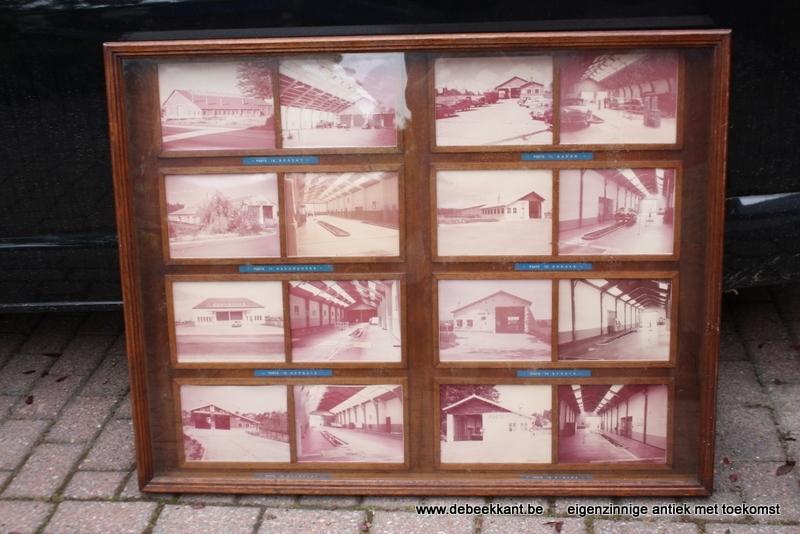 Antieke vintage supergrote eiken vitrinekast
