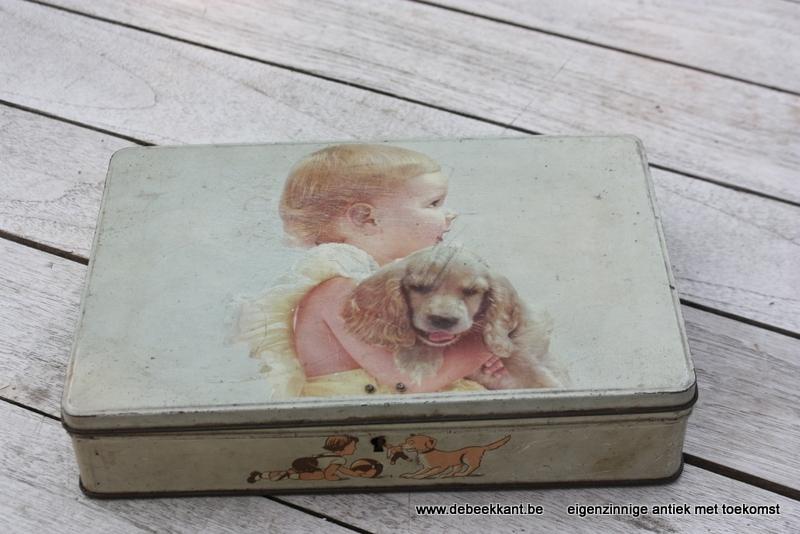 Oud retro blik Jacques kind met hond