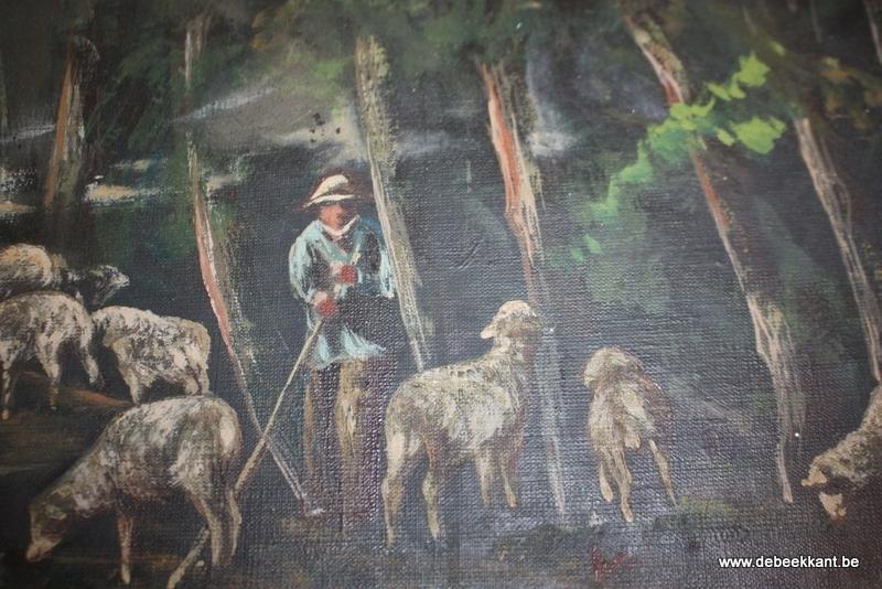 Brocante schilderij herder met schapen