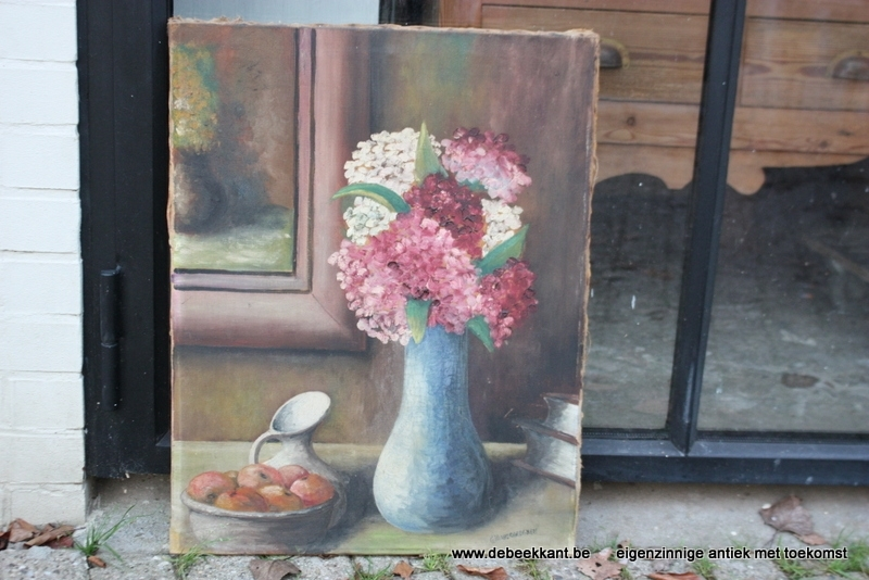 Brocante schilderij stilleven