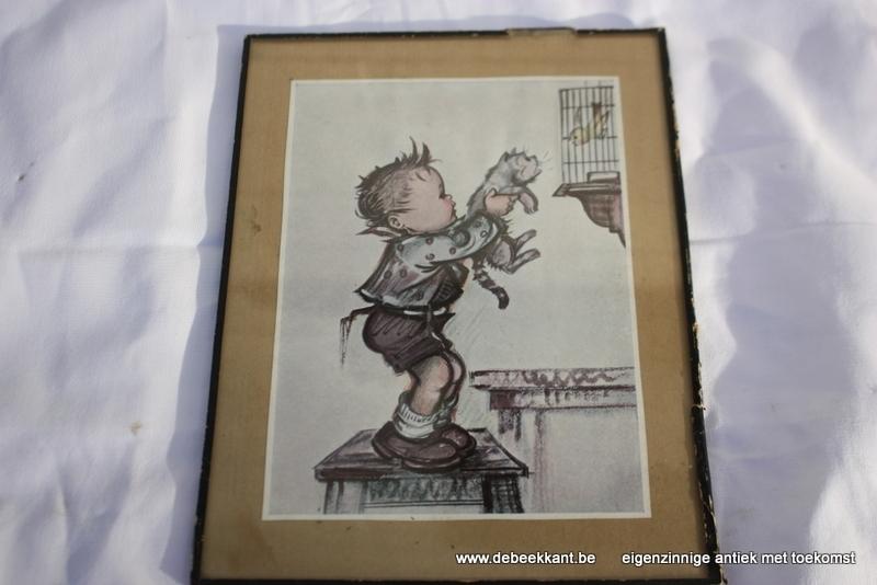 Vintage kadertje jongen met kat en vogelkooi