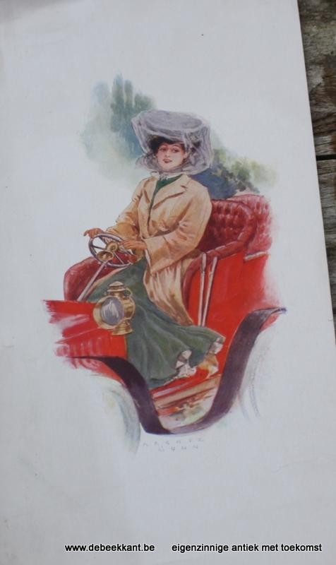 Antieke prent Archie Gunn automobile girl