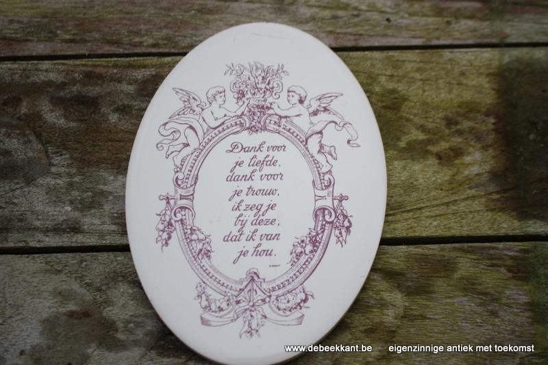 Ovalen bordje met engelen dank voor je liefde