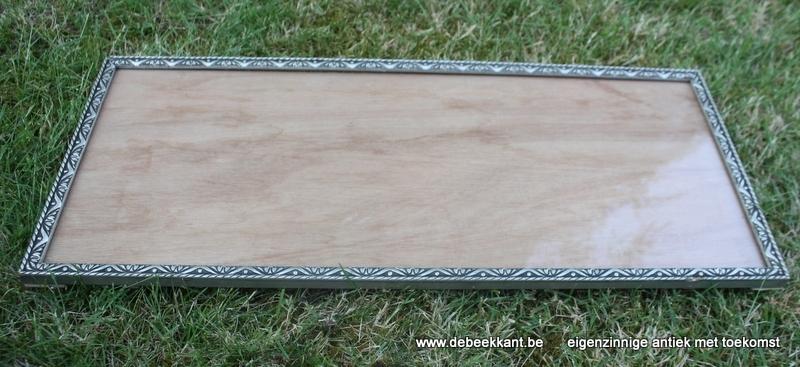 Antieke lange houten kader zilverkleur