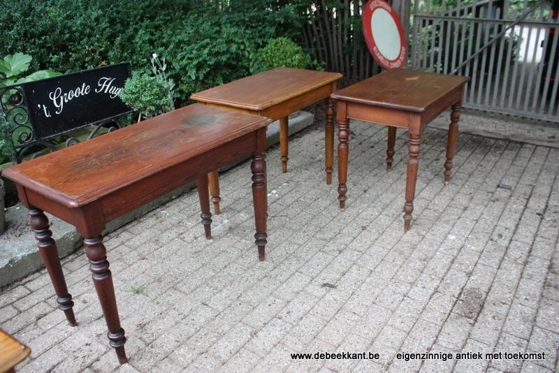 Antieke cafétafel tafel authentieke staat pitch pine