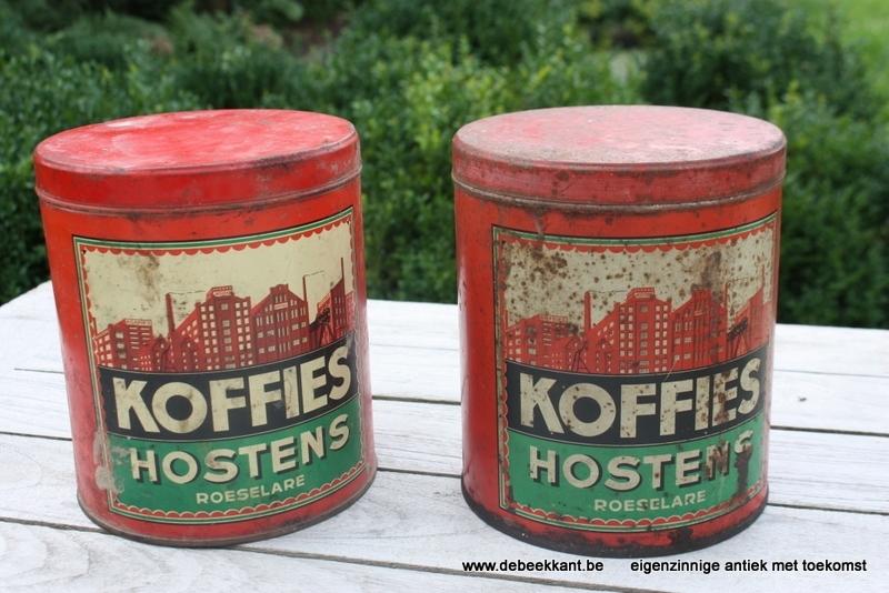 Antiek blik koffies Hostens