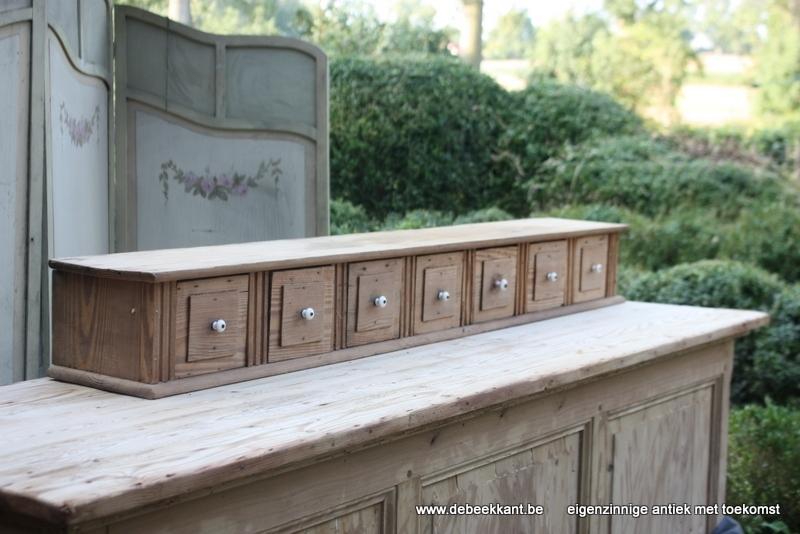 Antiek houten ladenrek rek pitch pine opgekuist