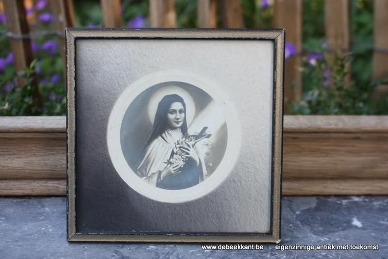 Oude vierkante staankader kader met afbeelding heilige Rita