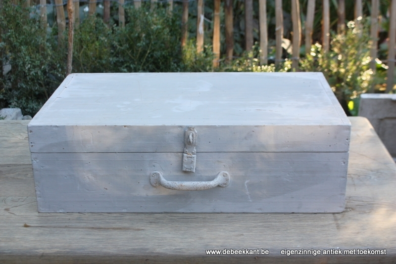Brocante houten valies koffer