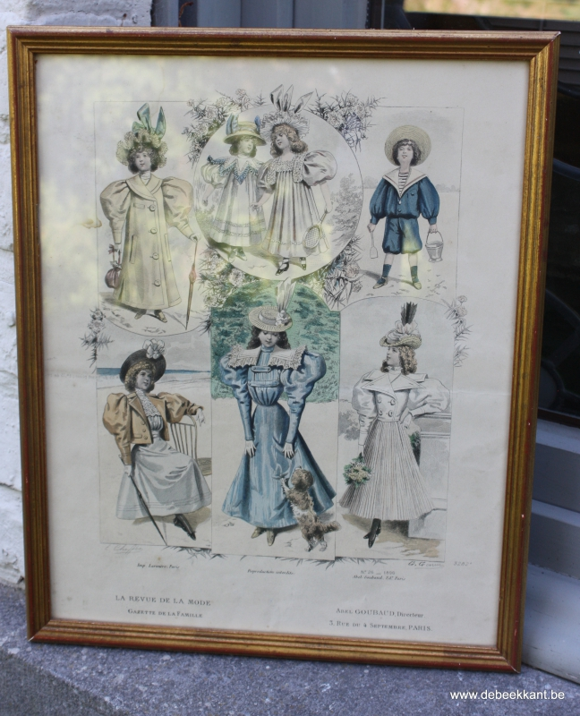 Antieke modeprent la revue de la mode